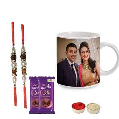 Set of 2 Rudraksha Rakhi with Photo Mug & Silk