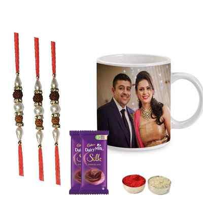 Set of 3 Rudraksha Rakhi with Photo Mugs & Silk