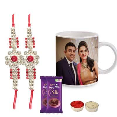 Set of 2 Designer Rakhi with Photo Mug & Silk