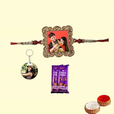 Personalized Metal Square Rakhi with keychain & Silk