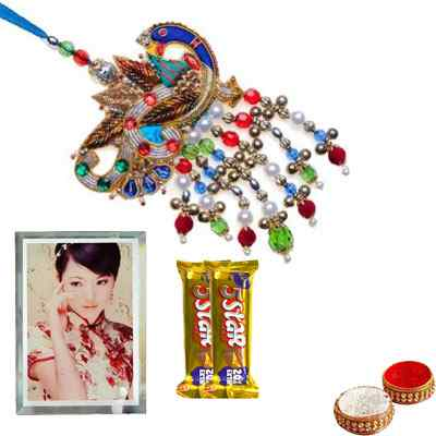 Zardosi Peacock Lumba Rakhi with Glass Photo Frame & 5 Star