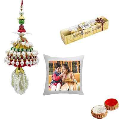 Beautiful Pearl Lumba Rakhi for Bhabhi with Cushion & Ferrero