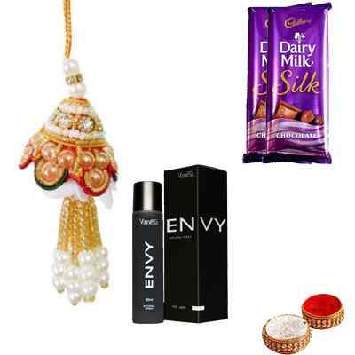 Designer Bhabhi Rakhi with Envy Perfume & Silk